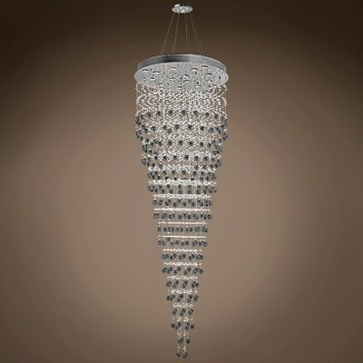 Drops of Rain 16-Light Crystal Pendant Crystal: Smoke European