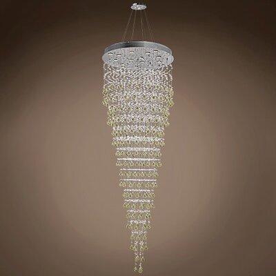 Drops of Rain 16-Light Crystal Pendant Crystal: Golden Teak European