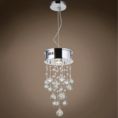 Drops of Rain 1-Light Crystal Pendant Crystal: Clear Asfour, Bulb Type: GU10 LED