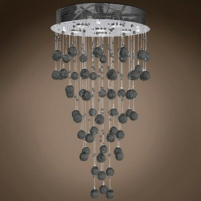 Drops of Rain 6-Light Flush Mount Finish: Black European, Bulb Type: GU10