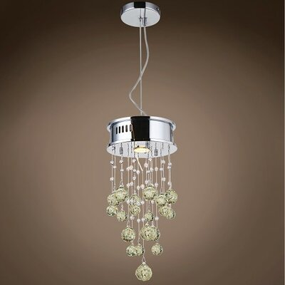 Drops of Rain 1-Light Crystal Pendant Crystal: Golden Teak European, Bulb Type: GU10