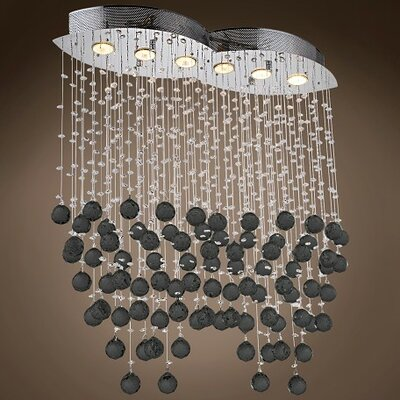 Drops of Rain 6-Light Crystal Pendant Crystal: Black European, Bulb Type: GU10 LED