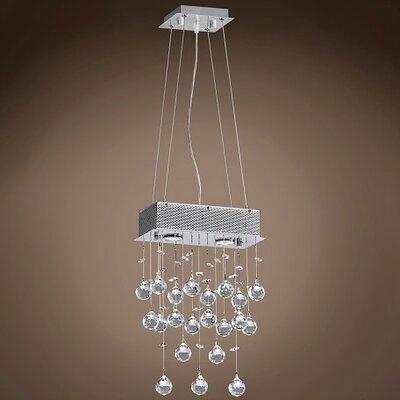 Drops of Rain 2-Light Crystal Pendant Crystal: Clear European, Bulb Type: GU10 LED