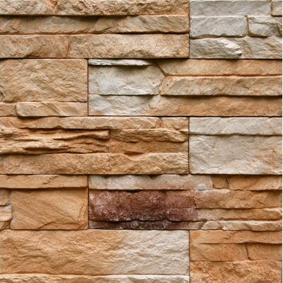 Odyssee Random Sized Manufactured Stone Veneer Wall Tile in Yellow Bronze (Set of 4)