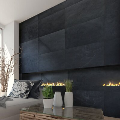 Thin Flexible 16 x 24 Natural Stone Field Tile in Black Slate