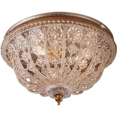 Crystal Dome Fixture 3-Light Flush Mount