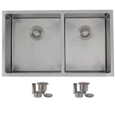 """32"""" x 19"""" Double Bowl Undermount Kitchen Sink S-305X"""