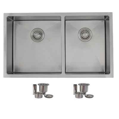 """32"""" x 19"""" Double Bowl Undermount Kitchen Sink with 2 Basket Strainers S-305"""