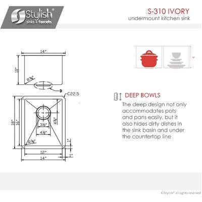 18 x 14 Single Bowl Undermount Kitchen Sink
