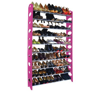 10-Tier 50 Pair Stackable Shoe Rack Finish: Pink LIDD1134 29835524