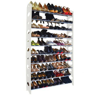 10-Tier 50 Pair Stackable Shoe Rack Finish: White LIDD1134 29823769