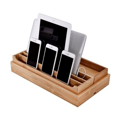 3 Piece Eco-Friendly Bamboo Multi Device Organizer Charging Station and Dock Set WAND1157 30648643