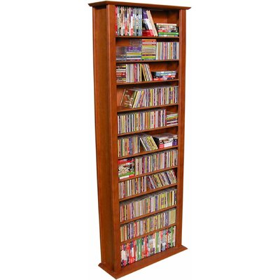 Large Single Multimedia Storage Rack Finish: Cherry