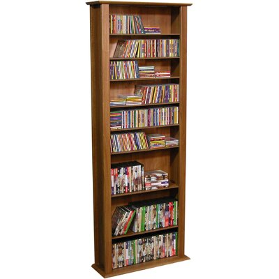 Large Single Multimedia Storage Rack Color: Dark Walnut