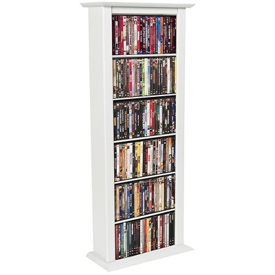 Large Single Multimedia Storage Rack Finish: White