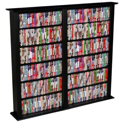 Regular Double Multimedia Storage Rack Finish: Black