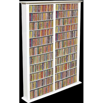 Large Double Multimedia Storage Rack Finish: White