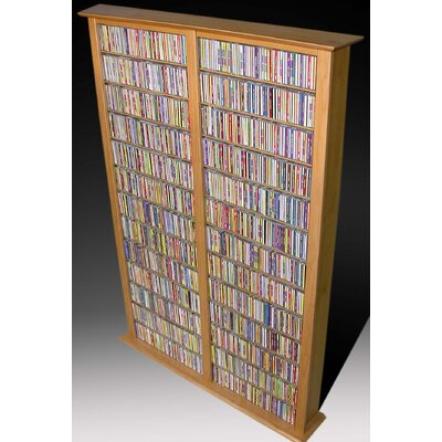 Large Double Multimedia Storage Rack Finish: Oak