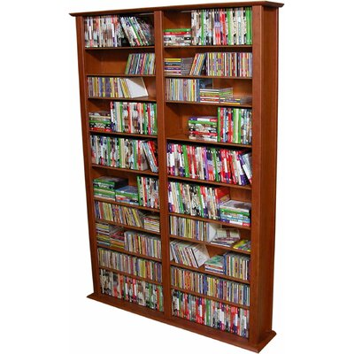 Large Double Multimedia Storage Rack Finish: Cherry