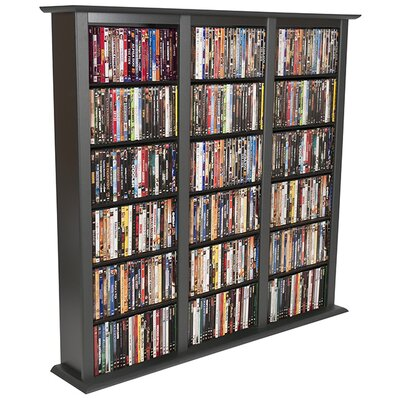 Regular Triple Multimedia Storage Rack Color: Black