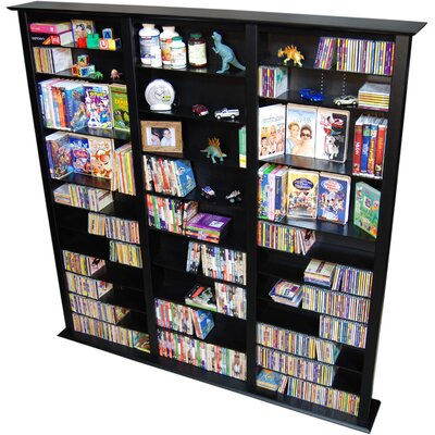 Large Triple Multimedia Storage Rack Color: Black