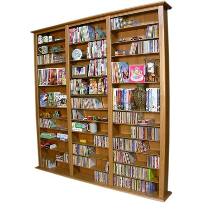Large Triple Multimedia Storage Rack Color: Oak