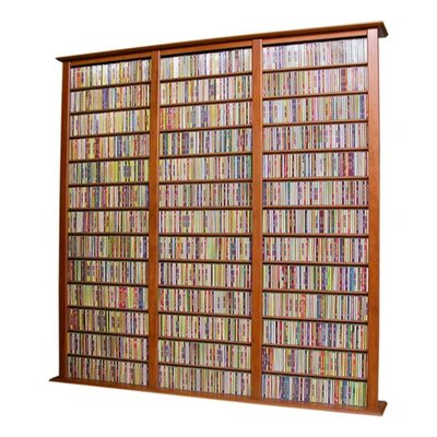 Large Triple Multimedia Storage Rack Finish: Cherry