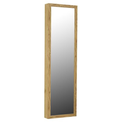 Wall Mounted Jewelry Armoire with Mirror Finish: Oak