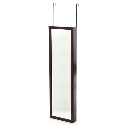 Wall Mounted Jewelry Armoire with Mirror Finish: Cherry