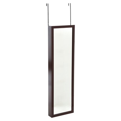 Wall Mounted Jewelry Armoire with Mirror Finish: Black