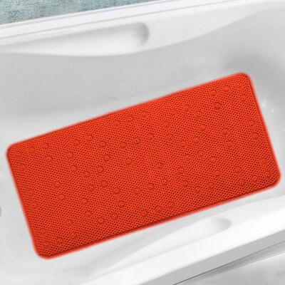 Antibacterial Cushioned Waffle Non Slip Bath Tub Mat Color: Orange, Rug Size: 3 x 15