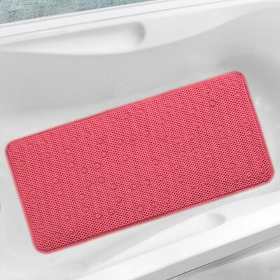 Antibacterial Cushioned Waffle Non Slip Bath Tub Mat Color: Pink, Rug Size: 3 x 15