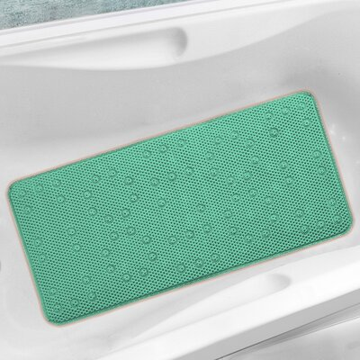 Antibacterial Cushioned Waffle Non Slip Bath Tub Mat Color: Teal, Rug Size: 3 x 15