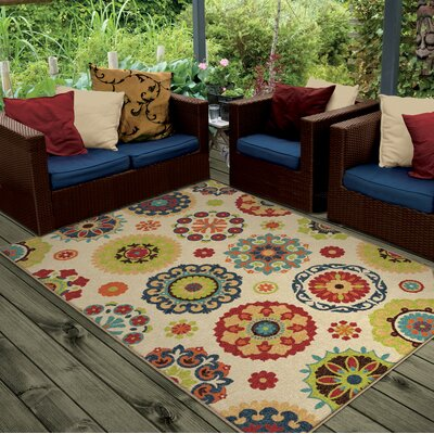 Maen Neutral Cream Indoor/Outdoor Area Rug Rug Size: 52 x 76