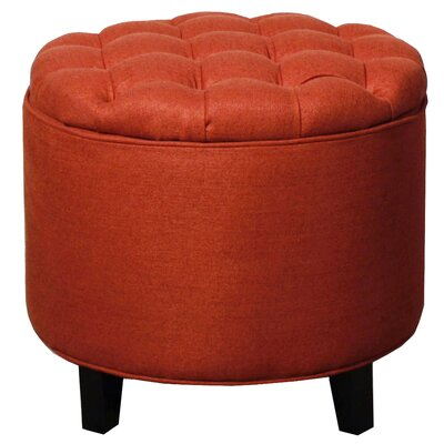 Avery Round Tufted Storage Ottoman Upholstery: Persimmon
