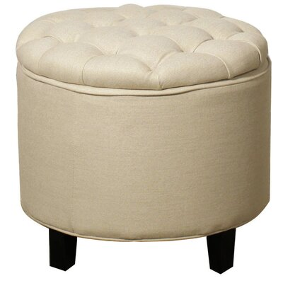 Avery Round Tufted Storage Ottoman Upholstery: Sand
