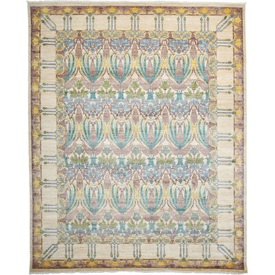 One-of-a-Kind Arts and Crafts Hand-Knotted Light Beige Area Rug