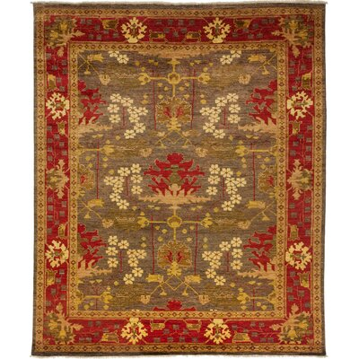 One-of-a-Kind Arts and Crafts Hand-Knotted Brown / Red Area Rug