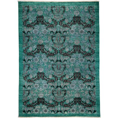 Arts and Crafts Hand-Knotted Teal Area Rug