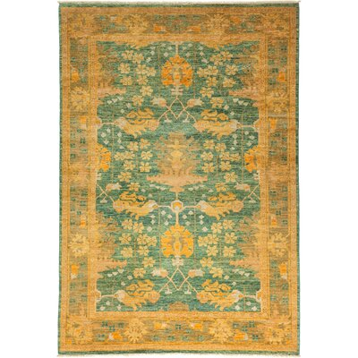 One-of-a-Kind Arts and Crafts Hand-Knotted Teal / Yellow Area Rug