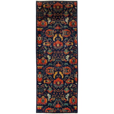 One-of-a-Kind Eclectic Hand-Knotted Navy Area Rug