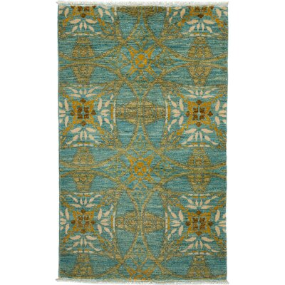 One-of-a-Kind Eclectic Hand-Knotted Light Blue Area Rug
