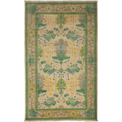 One-of-a-Kind Arts and Crafts Hand-Knotted Ivory / Green Area Rug