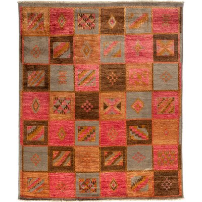 Kaitag Hand-Knotted Red Area Rug