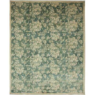 One-of-a-Kind Oushak Hand-Knotted Ivory / Green Area Rug