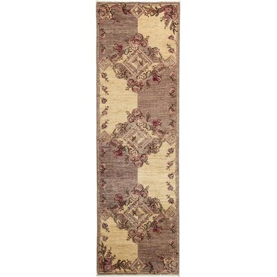 Eclectic Hand-Knotted Beige / Purple Area Rug