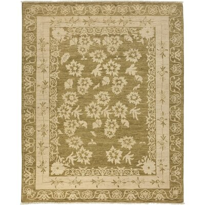 One-of-a-Kind Oushak Hand-Knotted Olive Area Rug