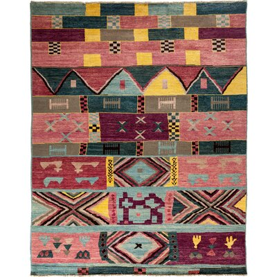 Kaitag Hand-Knotted Rose / Green Area Rug