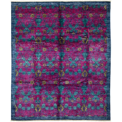 Arts and Crafts Hand-Knotted Purple / Blue Area Rug
