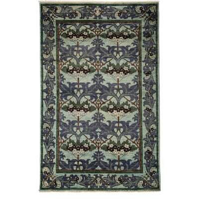 One-of-a-Kind Arts and Crafts Hand-Knotted Purple / Green Area Rug